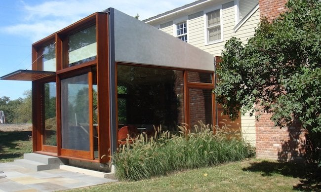 Exterior view of the sunroom that forms the addition