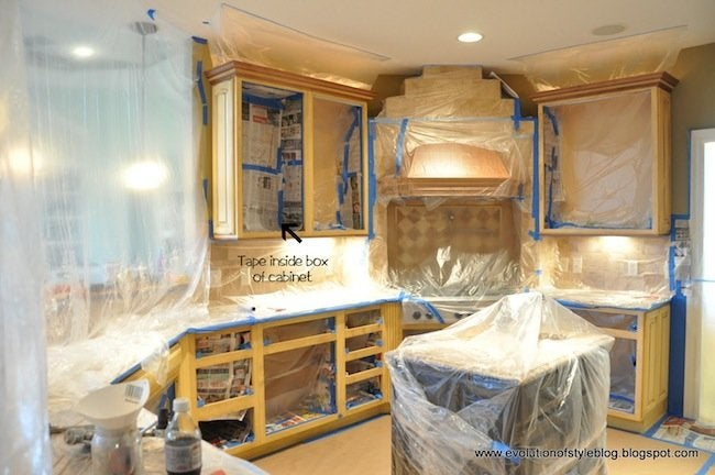 How to Paint Cabinets - Taping Off