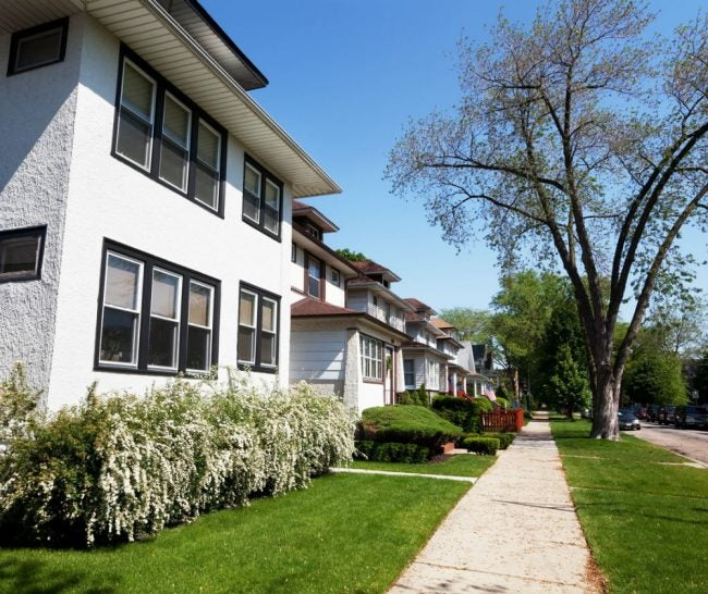 A Row of Foursquare Houses in Chicago