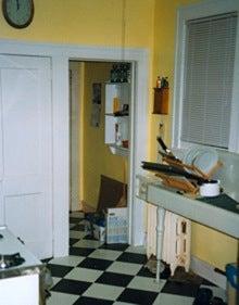 kitchen makeover, sink, checkerboard floor