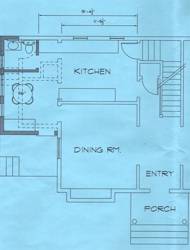 The existing kitchen layout, with the first proposed layout