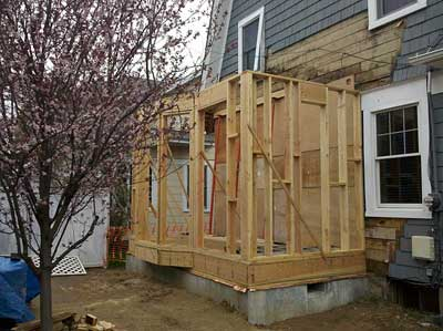 Framing for the new kitchen extension