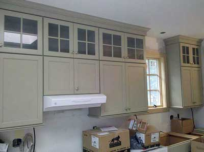 Cabinets with crown molding installed