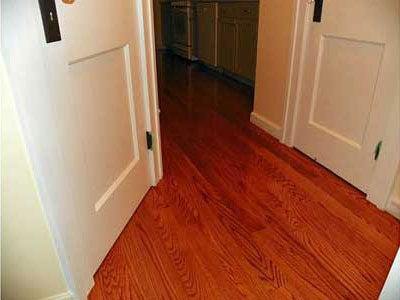 Oak floor with second coat of finish
