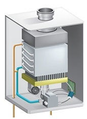 Gas-Operated Tankless Water Heater Diagram