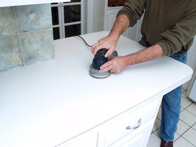 How to Resurface Laminate Countertops - Sanding Detail