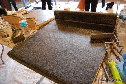 Resurfacing Laminate Countertops - In Progress
