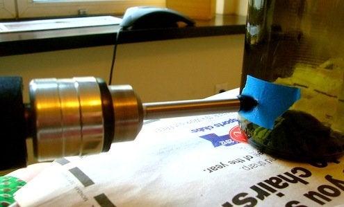 Wine Bottle Lanterns - Drilling
