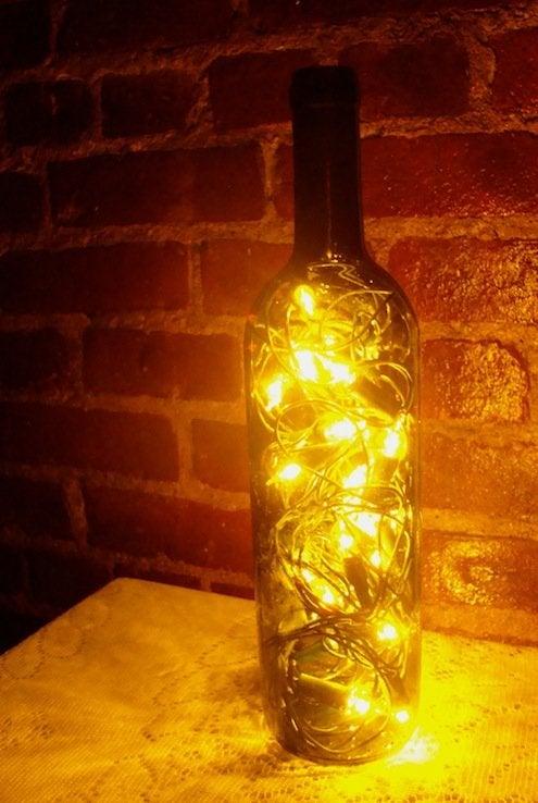 Wine Bottle Lanterns - Finished Product