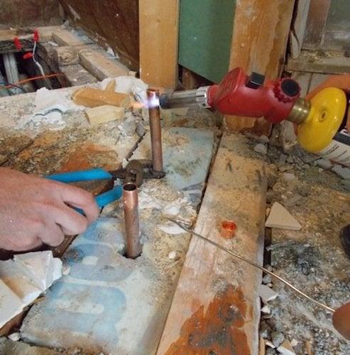 Soldering Copper Pipe Fittings - Soldering Shot 1