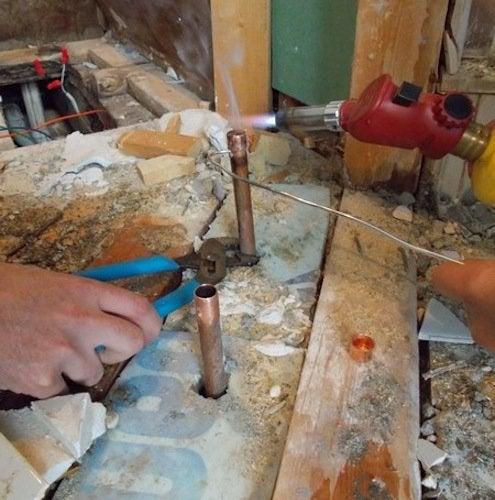 Soldering Copper Pipe Fittings - Soldering Shot 2