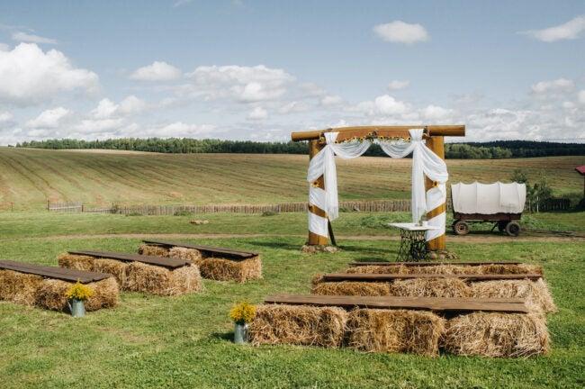 straw bale wedding seating