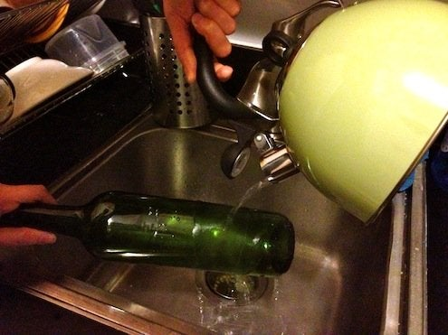 How to Cut Wine Bottles - Pouring Water