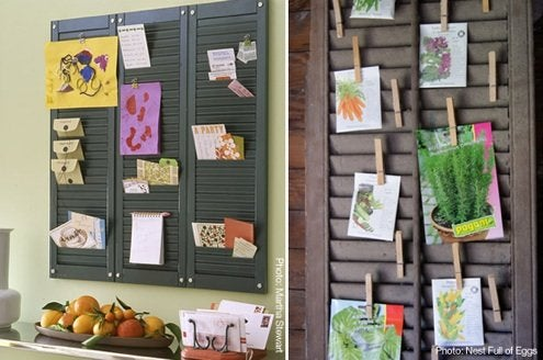 DIY Organization Ideas - Shutter Memo Board