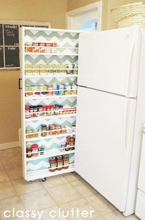 diy kitchen storage sliding storage rack