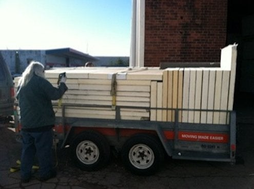Insulation panels loaded on truck