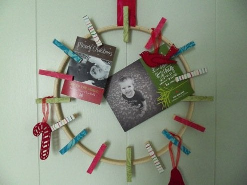 Christmas Card Display - Clothespin Wreath