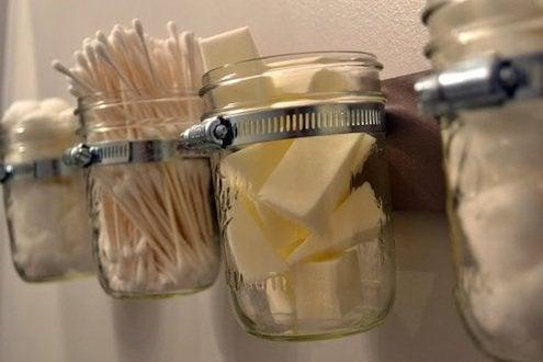 DIY Bathroom Storage - Mason Jar Organizer