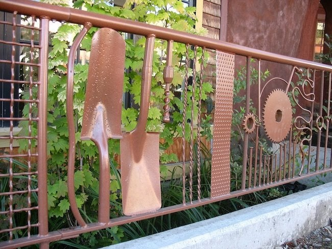 salvaged tools turned into fencing