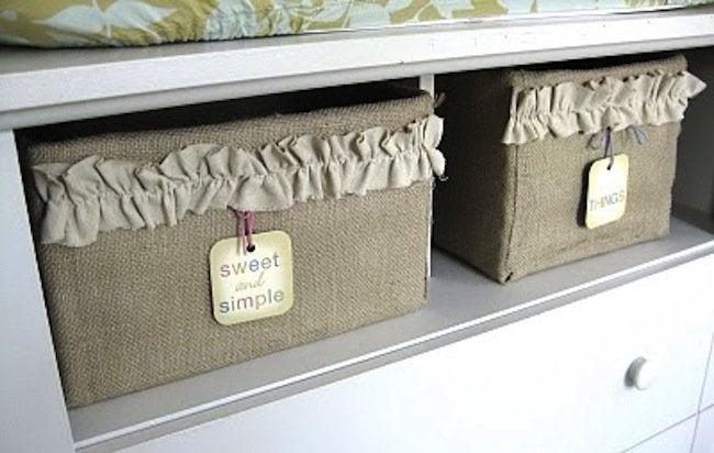 Burlap DIY - Storage Bin