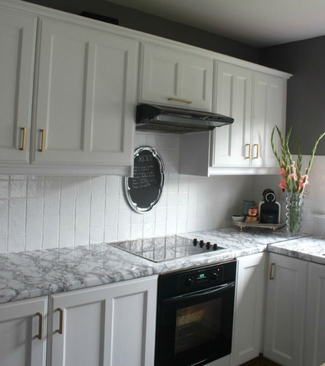 DIY Countertops with Marble Contact Paper