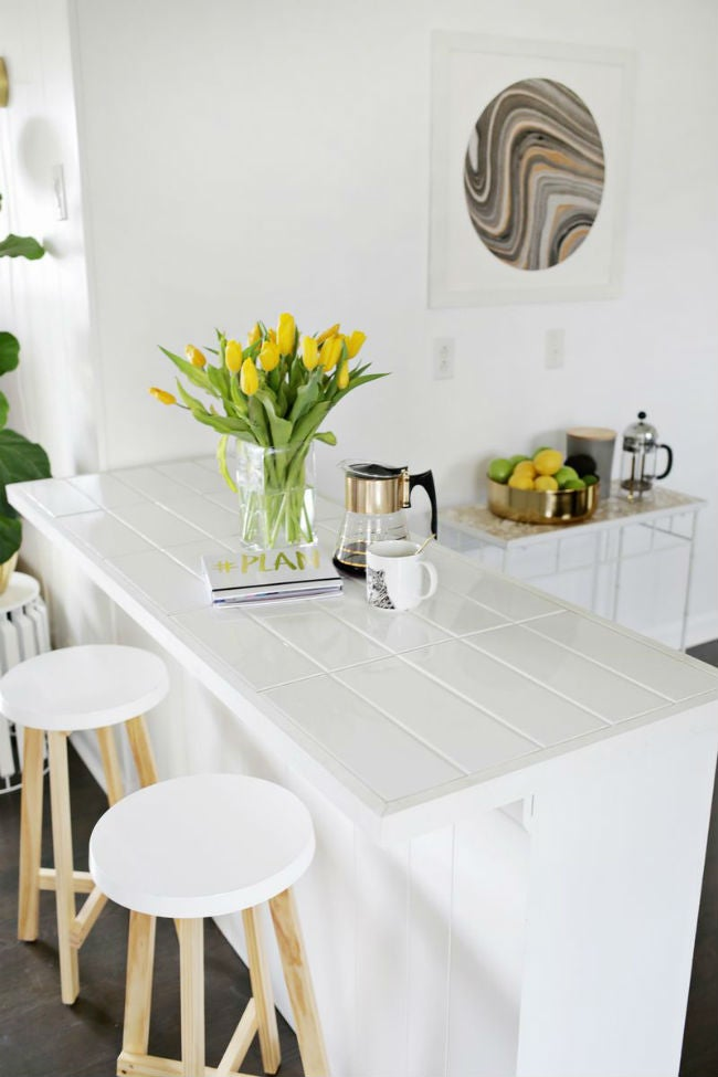 DIY Countertops Made with Subway Tile