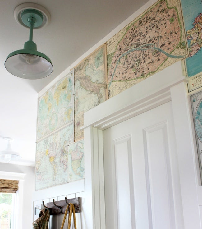 Hallway Ideas - Map Wallpaper