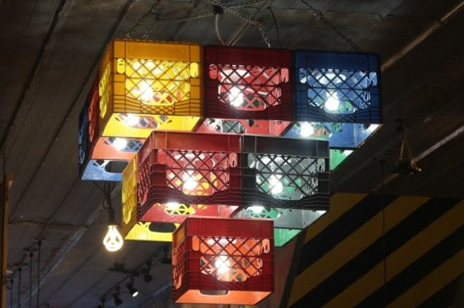 Uses for Milk Crates - Chandelier