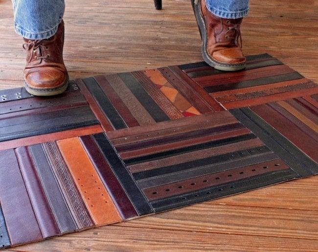 Reuse Leather Belts - Rug