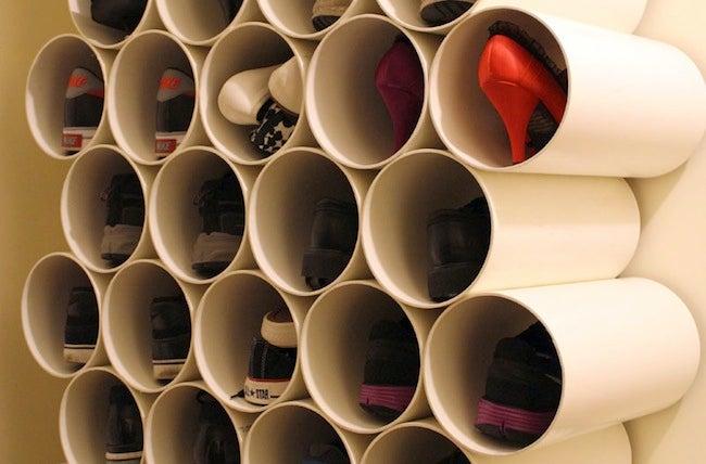 DIY Shoe Rack - PVC Pipe Cubbies