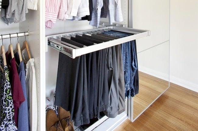 DIY Closet Organizer - Sliding Pants Rack