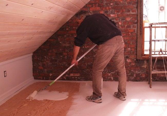 Painted Plywood Floors - Priming