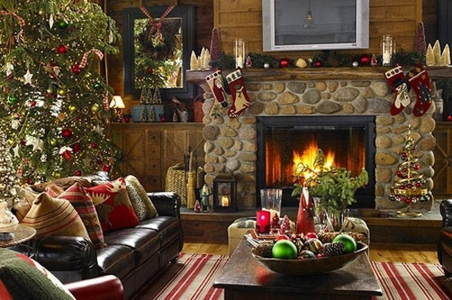 Holiday Decorated Living Room