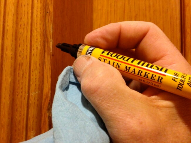 Fixing Hardwood Floor Scratches with Stain Marker