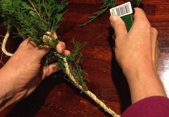 How to Make Fresh Garland - Add Greenery