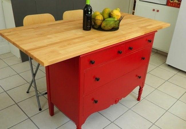 DIY Kitchen Island - Converted Dresser