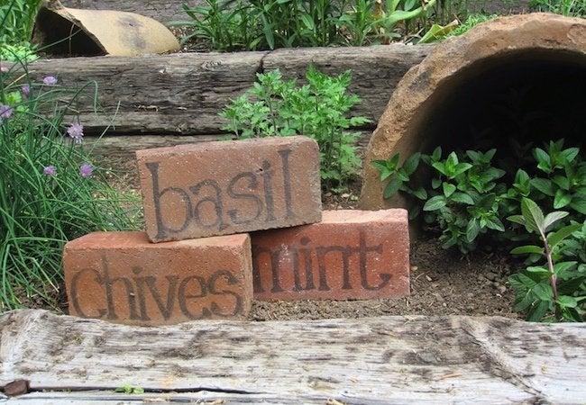Uses for Bricks - Garden Marker