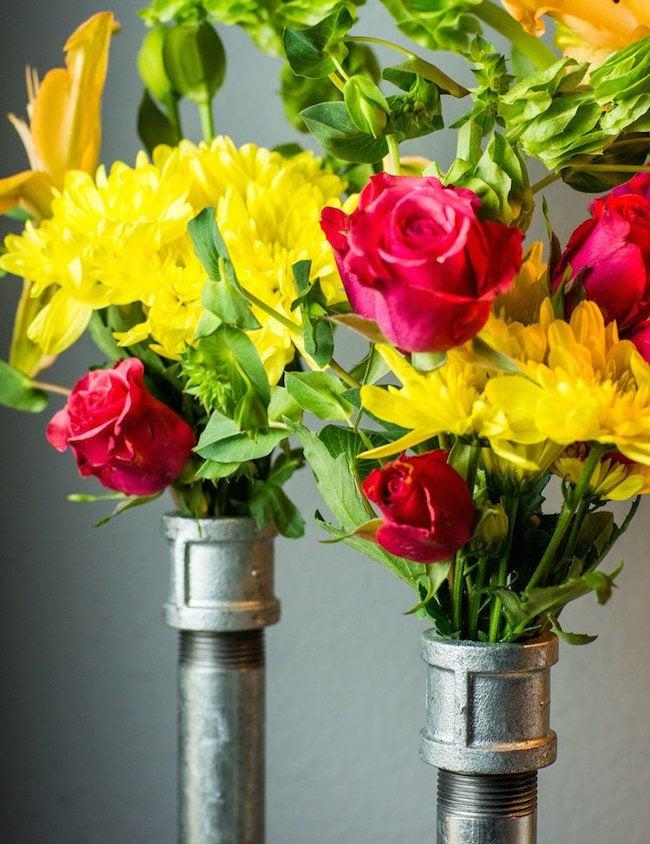Flowers in DIY Pipe Vase