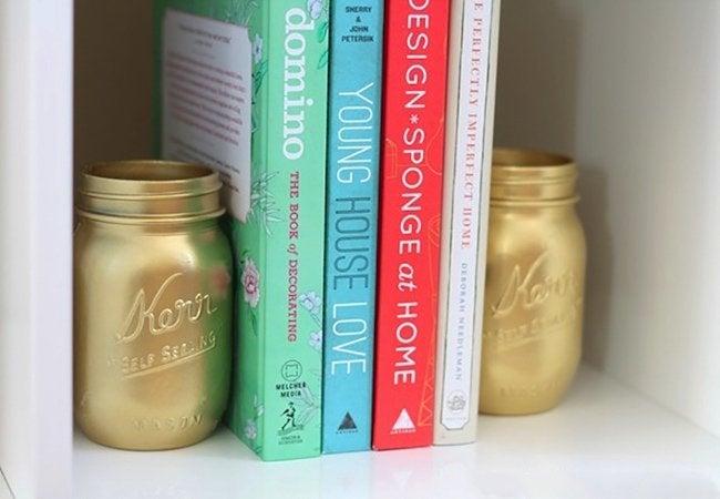 DIY Bookends - Mason Jars
