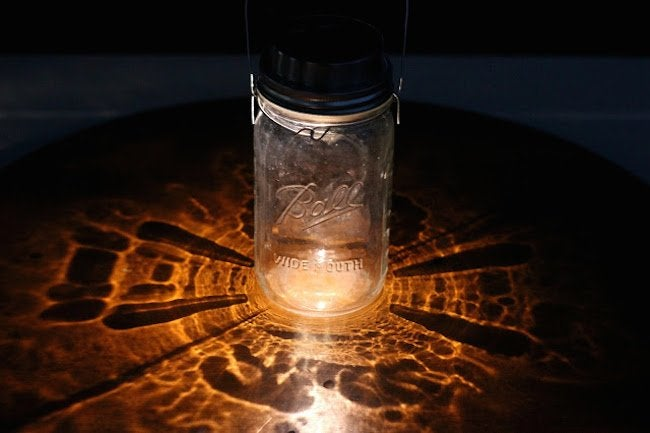 Mason Jar Solar Lamp - Night Detail