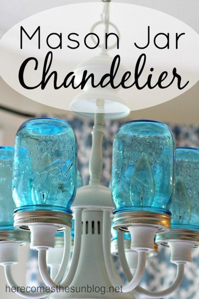 Blue Mason Jar Chandelier - Complete