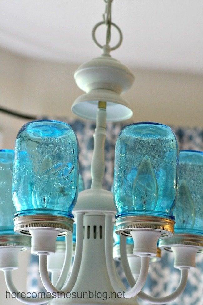 Blue Mason Jar Chandelier - Detail Installed