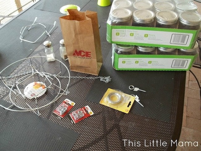 Mason Jar Chandelier DIY - Materials