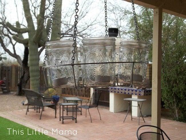 Mason Jar Chandelier DIY - Complete