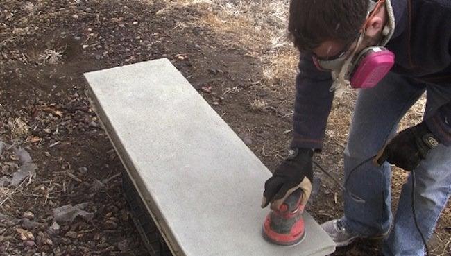 Sanding DIY Concrete Table