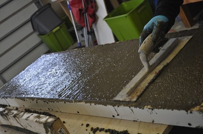 Smooth DIY Concrete Table with Trowel