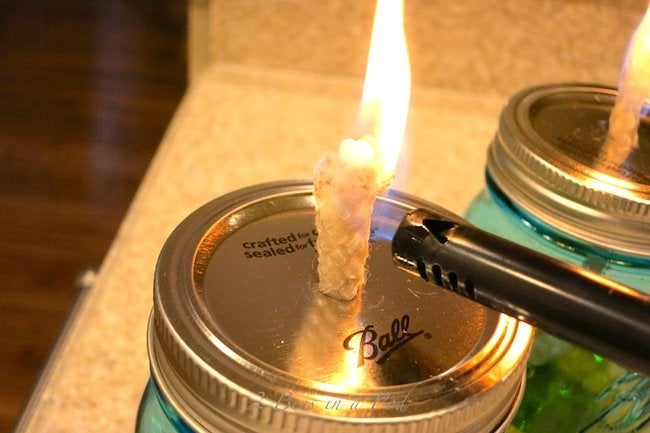 DIY Citronella Candle - Lit