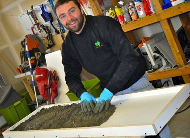 Packing Concrete for DIY Concrete Table