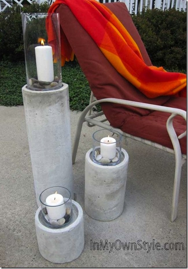 Patio View of DIY Concrete Candle Holders
