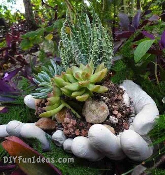 DIY Concrete Hand Planter with Succulents